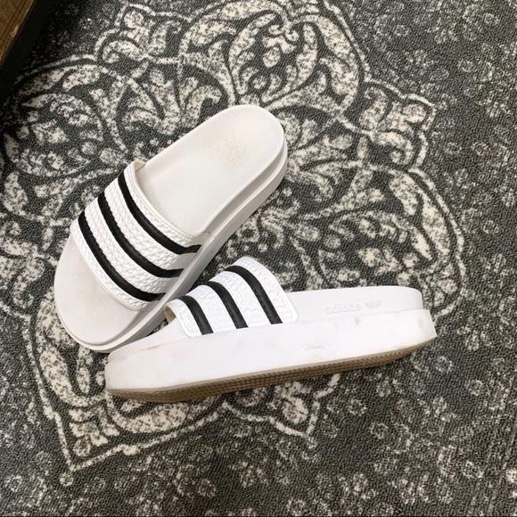 Adidas Wedge Platform Slides Shoes Sz